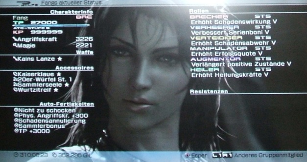 Final Fantasy XIII Fang Status