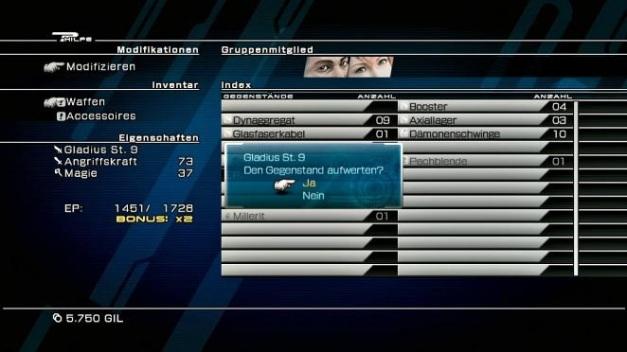 Final Fantasy XIII Waffen Modifikation